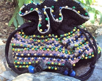 Pouch Bag, Black, Beaded, Crocheted, Vintage