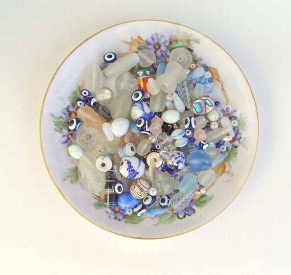 Assorted Beads Blue, Matte, Glass, Vintage Supplies Supply De Stash Destash