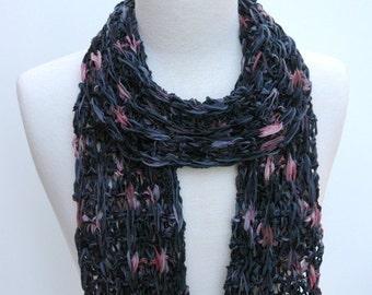 Cotton  Scarf- Hand Knit/ Black/ Mauve/ Gray/ Rose