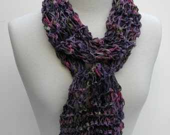 Cotton Scarf-Hand Knit/Plum, Pink, Mauve