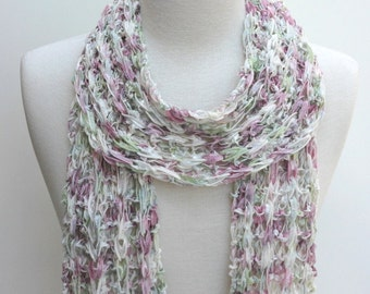 Cotton  Scarf- Hand Knit/ Cream, Rose, Mauve, Soft Green