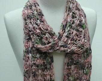Cotton  Scarf- Hand Knit/  Rose, Mauve, Soft Green