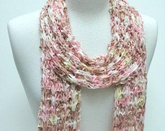 Hand Knit Cotton Scarf- Rose/ Dusty Peach/  Lemon