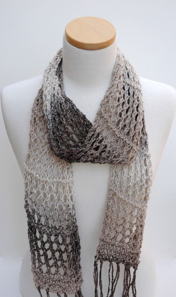 Cotton Scarf- Hand Knit- Gray, Cream, Brown