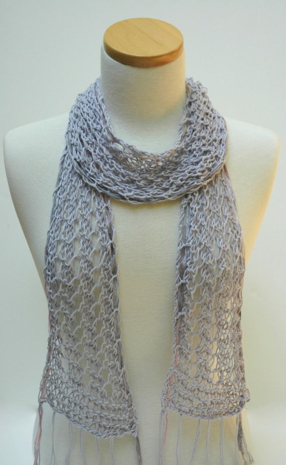 Cotton Scarf- Hand Knit- Lavender/ Gray