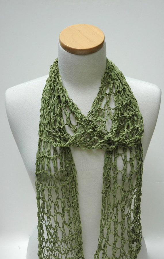 Silk Scarf- Hand Knit/  Apple Green