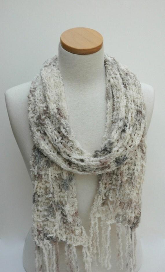 Cotton Chenille Scarf- Hand Knit- Gray Cream, Mauve