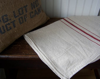 French Grain Sack Style Table Runner - Red  20 x 94 inches