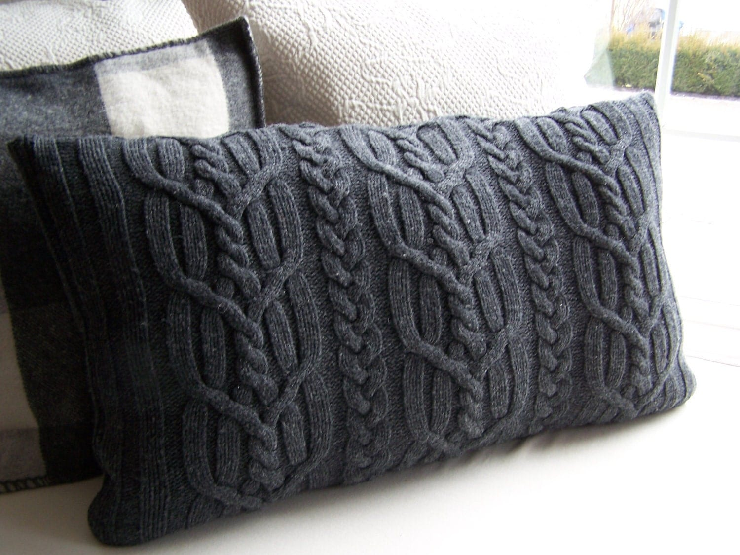 Cable Knit Pillow Pattern : Upcycled Gray Cable Knit Sweater Pillow Cover