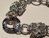 SPECIAL ORDER for lanesgma - Double Byzantine with Swarovski Cosmic Rings Bracelet - Sterling Silver Chainmaille
