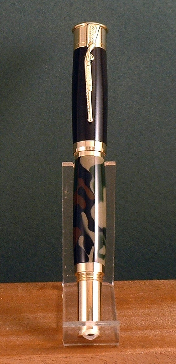 24k Gold Over and Under Roller Ball Pen - Ebony and Camouflage Acrylic