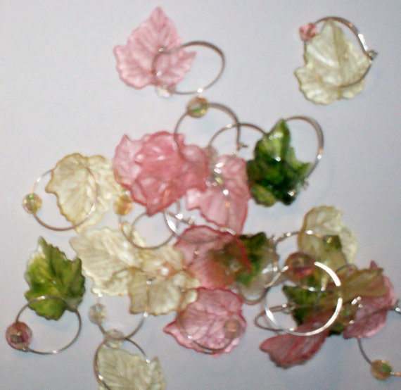 RESERVED- Wedding Favor Wine Charms- Vintage bead and grape leaves 60 total