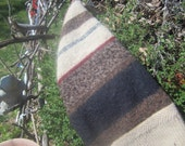 Gnome Hat - Earth tone stripes upcycled wool