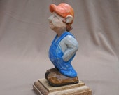 Hand carved and painted wood caricature