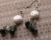 Coin pearl with brown, Clear, and palace green Swarovski crystals