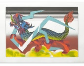 "Handpull SilkScreen Art Print ""Dragon Year"" Chinese Mythology Creature"