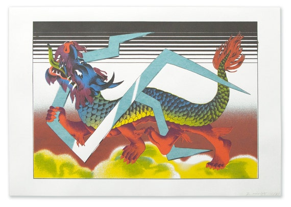 Chinese Zodiac Series Art Print No.2 -Dragon Year 2012 -Handpull SilkScreen Art Print with Chinese Mythology Creature in limited edition