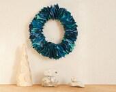 Upcycled Blue Fabric Door Wreath
