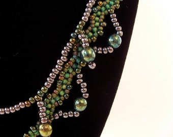 Tassels & Drapes Necklace Pattern, Beading Tutorial in PDF