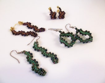 Wave Earrings Pattern, Beading Tutorial in PDF