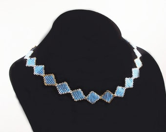 Stained Glass Necklace Pattern, Beading Tutorial in PDF