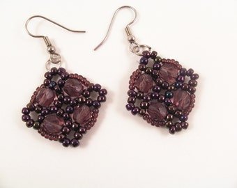 Fire Polished Cluster Earring Pattern, Beading Tutorial in PDF