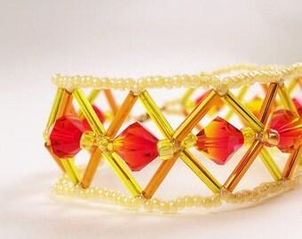 Fire Opal Bracelet Pattern, Beading Tutorial in PDF
