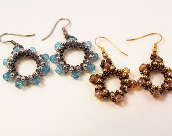 Harvest & Sun Flower Earrings, Beading Tutorial in PDF