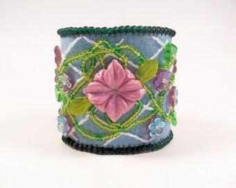 Lattice Flower Embroidery Cuff Bracelet, Beading Tutorial in PDF