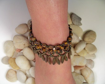 Dagger Anklet Pattern, Beading Tutorial in PDF