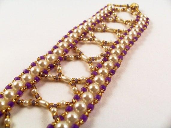Pretty Pearls Bracelet Pattern, Beading Tutorial in PDF