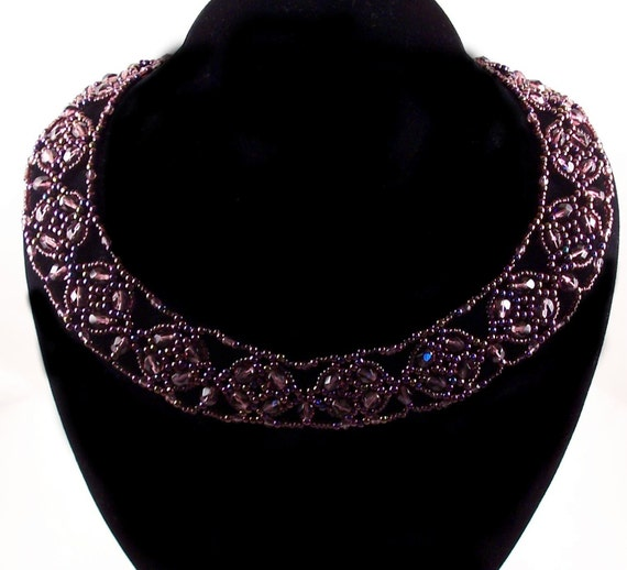 Fire Polished Cluster Collar Necklace Pattern, Beading Tutorial in PDF