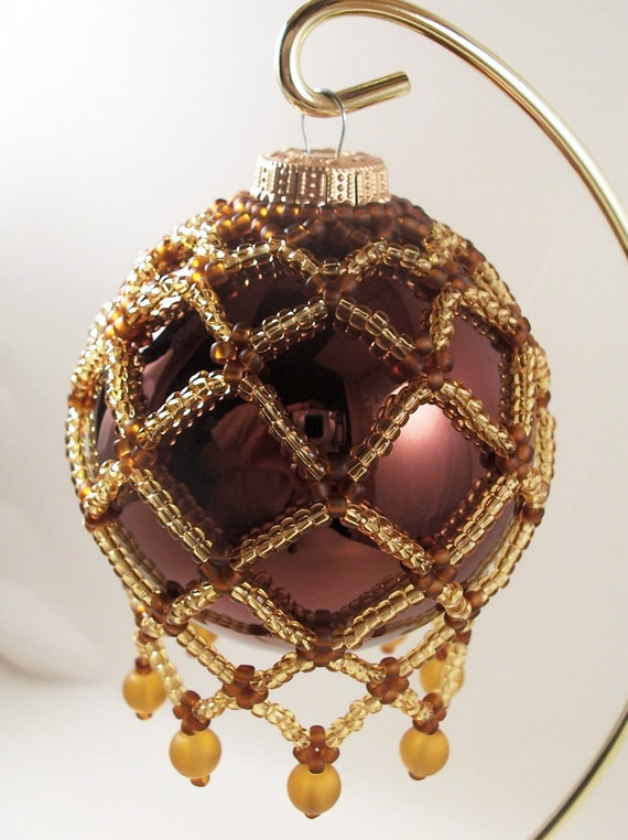 Net Ornament Cover Pattern, Beading Tutorial in PDF