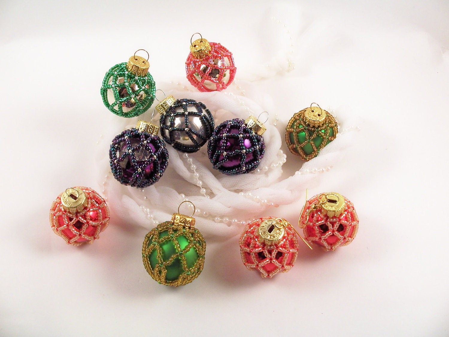 Beaded Christmas Ornament Pattern 4 Net Beading Tutorial In