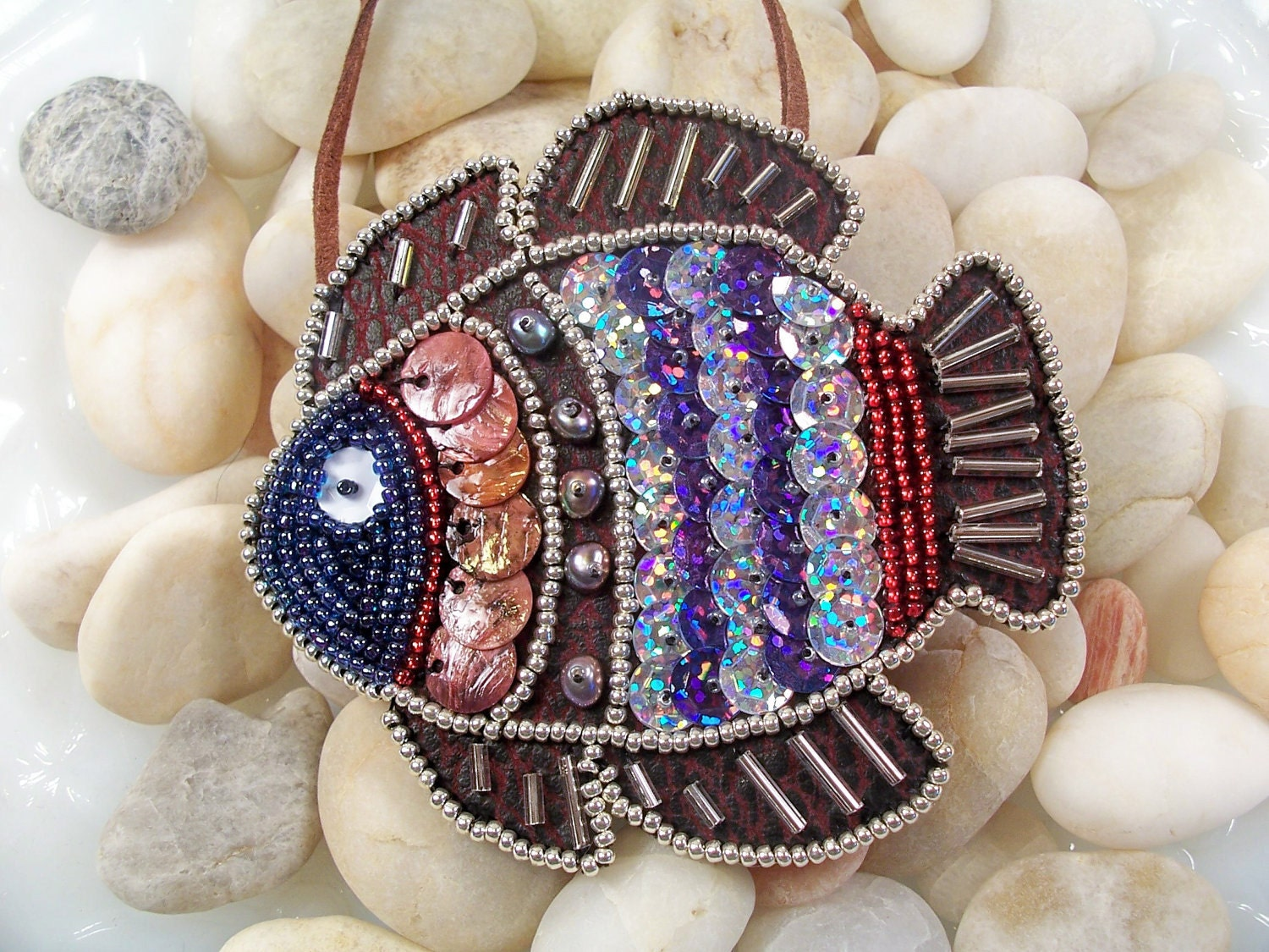 Tropical Fish Necklace Or Pin Pattern Beaded Embroidery