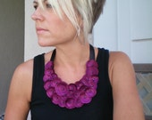 Satin Flower Necklace...bib necklace...The Poppy Necklace (plum)