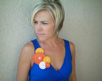 Flower Brooch...Flower Pin...orange...SALE/Five Flower Cluster Pin (sunshine)