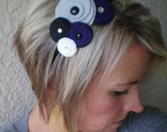 Headband...Flower...Felt...Five Flower Cluster Headband (mod purple)