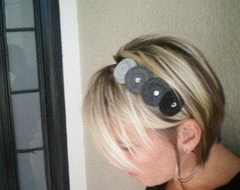 Flowers In A Row Headband (shades of grey)