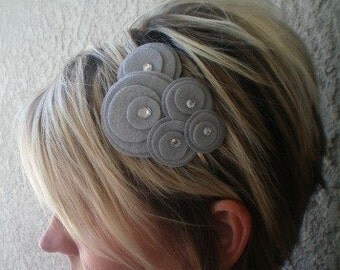 Flower Headband...felt...Five Flower Cluster Headband (silver gray)