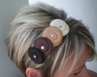 Headband...brown,,,Flowers In A Row Headband (earth tones)