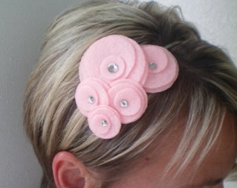 Five Flower Cluster Headband (baby pink)