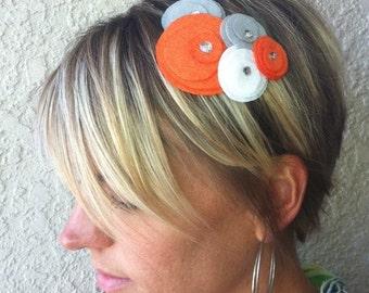 Flower Headband...felt...Five Flower Cluster...(orange, gray, white)