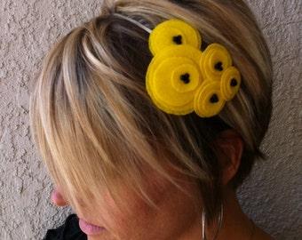 Flower Headband....felt...Five Flower Cluster Headband (yellow)