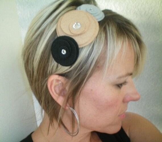 Headband...Flower...Felt...Three Flower Cluster Headband (gray, tan, black)