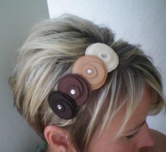 Headband...brown,,,Flowers In A Row Headband (earth tones)