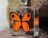 Orange Butterfly Painted Glass Pendant
