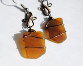 Sea Glass Jewelry Wire Wrapped Earrings in Antique Bronze, Beach Chic