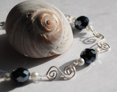 Silver Wire Wrapped Link Bracelet, Wire Wrapped Jewelry, Black and White Bracelet