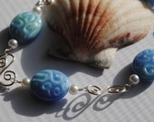 Wire Wrapped Bracelet, Lampwork Bracelet, Ocean Waves
